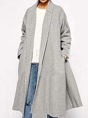 Téli-Női Kabát,Egyszínű Állógallér Hosszú ujj Szürke Gyapjú Nem átlátszó