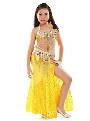 ריקוד בטן תלבושות בגדי ריקוד ילדים ביצועים שיפון נצנצים / חזית מפוצלת 3 חלקים בלי שרוולים נפול חצאית / עליון / חגורהTop Length :34cm