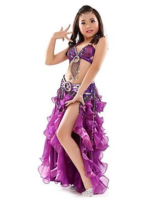 ריקוד בטן תלבושות בגדי ריקוד ילדים ביצועים שיפון Paillettes / חזית מפוצלת 3 חלקים בלי שרוולים נפול חצאית / עליון / חגורהTop Length :34cm