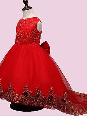 Menina de Vestido,Festa/Coquetel Bordado Poliéster Todas as Estações Vermelho
