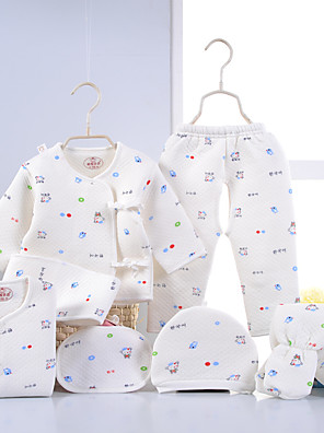 Baby Casual/Daily Animal Print Clothing Set-Cotton-Winter-Blue / Pink / Yellow