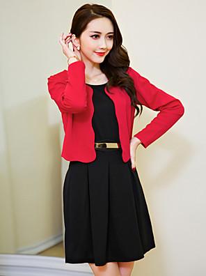 סתיו פוליאסטר אדום / שחור שרוול ארוך מעל הברך צווארון עגול אחיד פשוטה ליציאה / מידות גדולות שמלה נדן / שני חלקים נשים