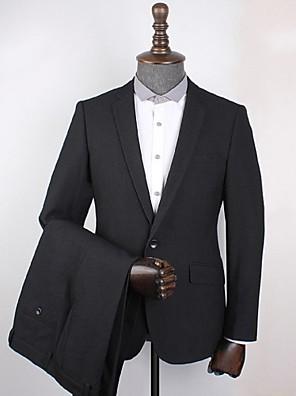 Obleky Standard Otevřené Jednořadé s jedním knoflíkem Polyester Kostičky (Gingham 2 ks Černá Šikmé s klopou Žádný (rovné nohavice) Černá