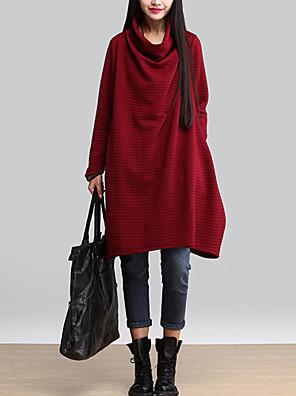 סתיו / חורף כותנה אדום / שחור / אפור שרוול ארוך עד הברך א-סימטרי אחיד וינטאג' יום יומי\קז'ואל שמלה גזרת A / משוחרר נשים