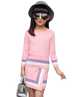 Girl's Casual/Daily Striped Sweater & Cardigan / Clothing Set,Rayon Winter / Spring / Fall Blue / Pink
