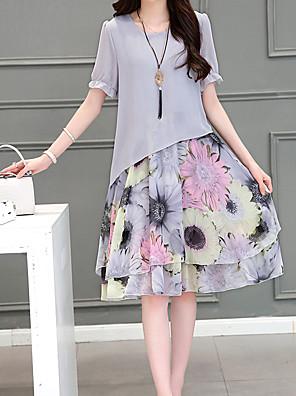 קיץ כותנה אפור שרוולים קצרים עד הברך צווארון עגול פרחוני פשוטה מידות גדולות שמלה משוחרר נשים,גיזרה נמוכה מיקרו-אלסטי