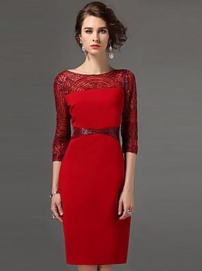 סתיו פוליאסטר אדום / בז' / סגול אורך שרוול ¾ עד הברך צווארון עגול טלאים סגנון רחוב ליציאה / מידות גדולות שמלה נדן נשים