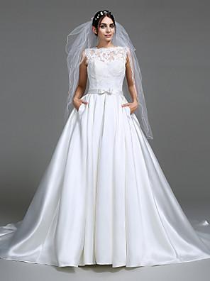 Lanting Bride® A-line Wedding Dress Chapel Train Bateau Satin with Appliques / Bow / Button