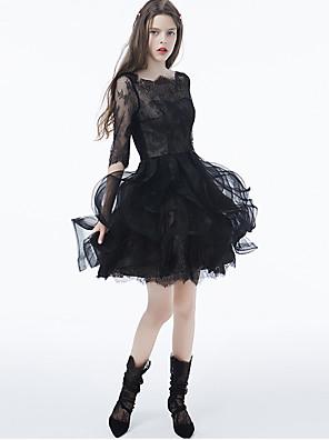 Cocktailparty Kleid - Kleines Schwarzes Kleid Ballkleid Bateau - Linie Kurz / Mini Spitze / Tüll mit Applikationen / Spitze / Rüschen
