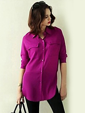 Women's Casual/Daily Simple Fall Shirt,Solid Shirt Collar Long Sleeve White / Purple Polyester Opaque