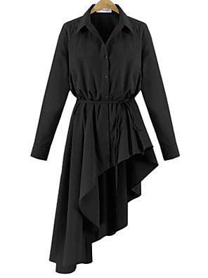 סתיו / חורף כותנה / חוטי זהורית לבן / שחור שרוול ארוך א-סימטרי צווארון חולצה אחיד סגנון רחוב יום יומי\קז'ואל / מידות גדולות שמלה חולצה