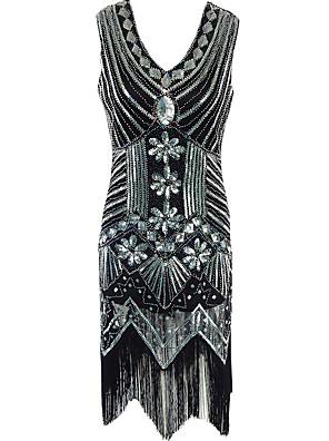Dámské Vintage Společenské / Party/Koktejl Pouzdro Šaty Kašmírový vzor,Bez rukávů Do V Midi Černá Polyester Všechna období High RiseLehce