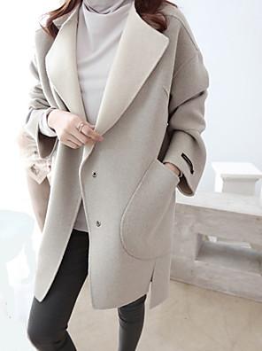 Damen Solide Einfach Lässig/Alltäglich Mantel,Winter Gekerbtes Revers Langarm Grau Dick Wolle