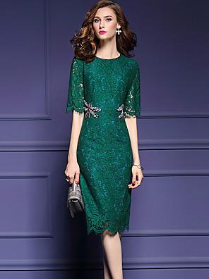 סתיו ניילון שחור / ירוק אורך חצי שרוול עד הברך צווארון עגול אחיד פשוטה מסיבה\קוקטייל שמלה נדן נשים,גיזרה בינונית (אמצע) מיקרו-אלסטיבינוני