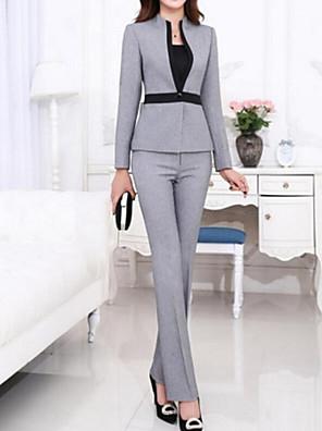 Women's Fall Blazer,Solid Asymmetrical Long Sleeve Gray Others Medium