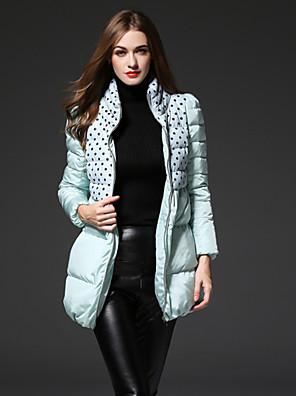 Alkalmi Csinos Kabát-Női Pöttyös Hosszú Sportos kabátok Poliészter Fehér kacsapehely Körgallér Hosszú ujj Zöld