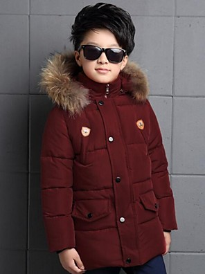 Boy's Casual/Daily Solid Down & Cotton PaddedPolyester Winter Black / Red