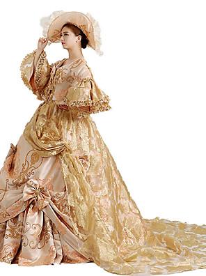 Jednodílné/Šaty Gothic Lolita / Sweet Lolita / Klasická a tradiční lolita / Punk Lolita Steampunk® Cosplay Lolita šaty Zlatá Květinový3 /