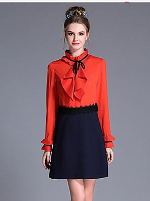 aufoli kvinder plus størrelse vintage farve blok læg patchwork langærmet falske to stykker kjole