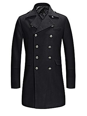 Nagy méretek Vintage / Utcai sikk Őszi / Téli-Férfi Kabát,Egyszínű Állógallér Hosszú ujj Kék / Fekete Egyéb Közepes vastagságú / Vastag