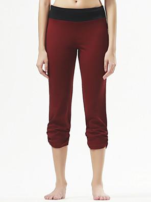 מכנסיים יוגה מכנסי שלושה רבעים נושם / נוח טבעי מתיחה בגדי ספורט שחור / בורדו לנשים ספורטיבי®יוגה / פילאטיס / כושר גופני / ספורט פנאי /