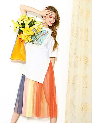 liangsanshi női alkalmi / napi utcai elegáns laza ruha, nyomtatott kerek nyakú rövid ujjú midi fehér pamut nyári
