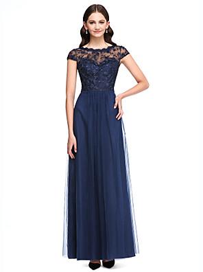 2017 לנטינג תחרה באורך הרצפה bride® / טול לראות דרך שמלת השושבינה - א-קו תכשיט עם כפתורים / תחרה
