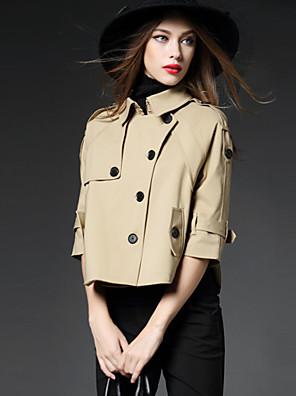 Eenvoudig Herfst Cloak / Capes Overhemdkraag-Halflange mouw Rood / Zwart / Bruin Effen Medium Katoen