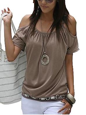 Mulheres Camiseta Casual / Tamanhos Grandes Simples / Moda de Rua Verão,Sólido Rosa / Vermelho / Branco / Bege / Preto / AmareloAlgodão /