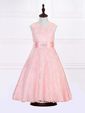 שמלה יום יומי\קז'ואל אחיד פוליאסטר קיץ כחול / ורוד / סגול / אדום / בז' הילדה של