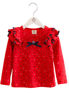 Girl's Purified Cotton Spring/Fall Fashion Casual/Daily Dot Print Blouse Ruffle Long Sleeves T-shirt