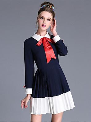 aufoli plus size kvinder vintage bue farve blok læg patchwork langærmet kjole