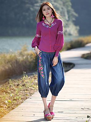 קשיח - רחב / ג'ינסים - מכנסי נשים(כותנה / פוליאסטר)