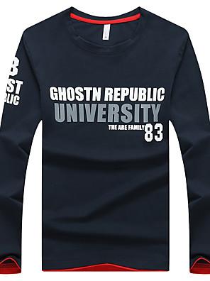 Men's Print / Patchwork / Letter / Color Block Casual / Work T-Shirt Cotton / Spandex Long Sleeve-Blue / White / Gray