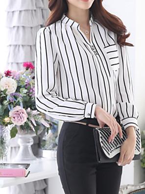 Mulheres Blusa Formal Simples Outono,Listrado Branco Colarinho de Camisa Manga Longa Média