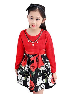 שמלה יום יומי\קז'ואל דפוס אחרים אביב / סתיו צבעוני הילדה של