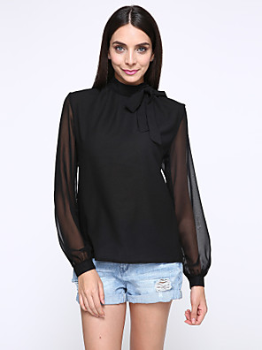 אחיד צווארון עומד(סיני) פשוטה יום יומי\קז'ואל חולצה נשים,סתיו שרוול ארוך לבן / שחור בינוני (מדיום) פוליאסטר