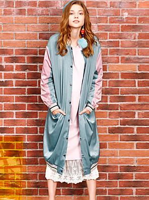 liangsanshi női alkalmi / napi utcai elegáns téli kabátok, színes blokk állni hosszú ujjú zöld poliészter közepes