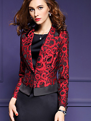 דפוס דש קלאסי סגנון רחוב עבודה / מידות גדולות בלייזר נשים,אביב / סתיו שרוול ארוך אדום בינוני (מדיום) פוליאסטר