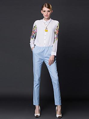 De frmz vrouwen bloemen / patchwork wit jumpsuitssimple kraag met lange mouwen