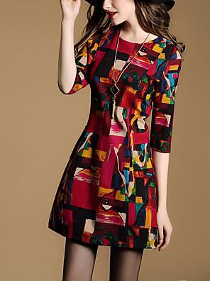 Feminino Bainha Vestido,Casual Vintage Patchwork Decote Redondo Acima do Joelho Manga ¾ Vermelho Poliéster Todas as Estações Cintura Média
