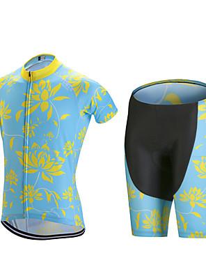 ספורטיבי חולצת ג'רסי ומכנס קצר לרכיבה לגברים שרוול קצר אופנייםנושם / ייבוש מהיר / עיצוב אנטומי / רוכסן קדמי / 3D לוח / כיס אחורי / תומך