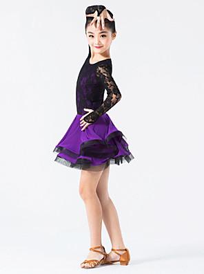 Latinské tance Šaty Dětské Výkon Nylon / elastan / Krajka Krajka / Volánky Jeden díl Dlouhé rukávy Přírodní ŠatyXXXS:54 XXS:59 XS: 64