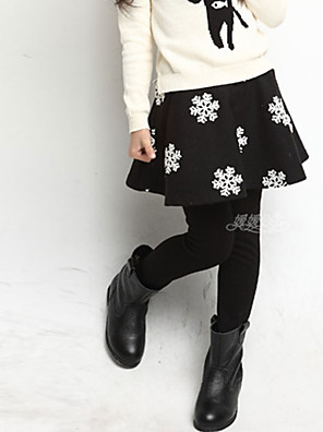 Girl's Casual/Daily Print Leggings,Cotton / Spandex Winter Black / Blue / Purple