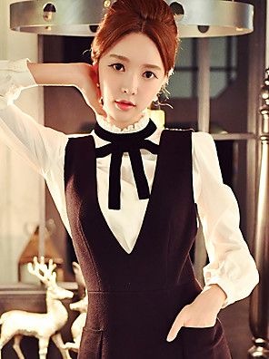 Women's Daily / Work / Party/Cocktail Vintage /Sophisticated Shirt Solid Stand Long Sleeve