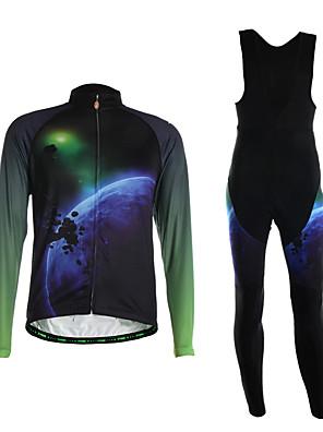 ספורטיבי חולצת ג'רסי וטייץ ביב לרכיבה לגברים שרוול ארוך אופניים נושם / שמור על חום הגוף / לביש / 3D לוח / בד קל מאוד / נוח מדים בסטים