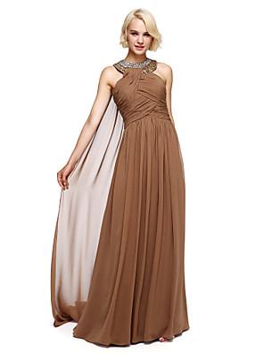 Lanting Bride® Na zem Šifón Šaty pro družičky Plesové šaty Ohlávka s Korálky