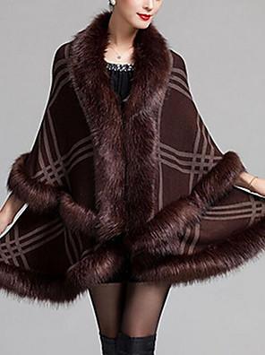 Dames Eenvoudig Herfst / Winter Cloak / Capes,Casual/Dagelijks V-hals-Driekwart mouw Blauw / Rood / Wit / Zwart / Bruin Ruitjes MediumWol