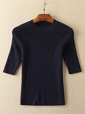 Dames Eenvoudig Lente / Herfst T-shirt Rok Suits,Casual/Dagelijks / Uitgaan Gestreept Ronde hals Halflange mouw Blauw Katoen / Polyester