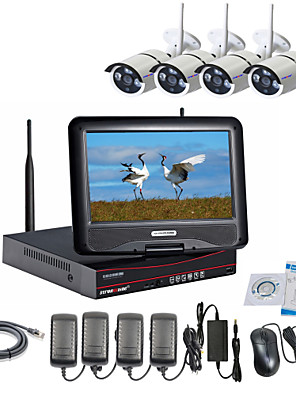 strongshine® trådløs ip kamera med 960p / infrarød / vandtæt og NVR med 10.1inch lcd combo kits